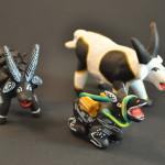 ox, goat and donkey