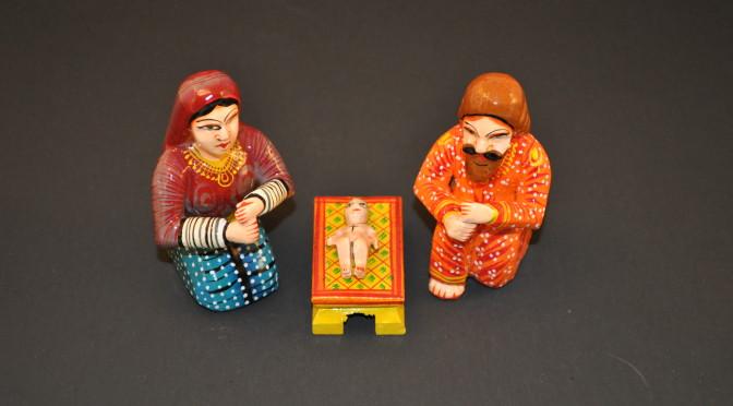 Dotted Benares Nativity, Holy Family