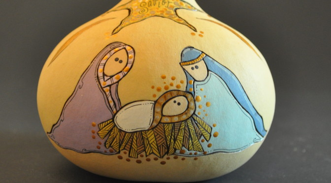 Contemporary Nativity Gourd