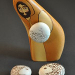 Painted Pebble Nativity. Shepherd and sheep.