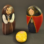 Painted Pebble Nativity. Holy Family