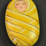 Painted Pebble Nativity. Baby Jesus