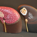 Painted Pebble Nativity. Elderly Couple.
