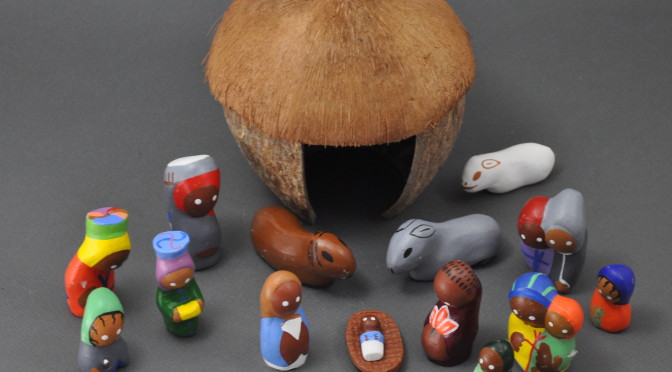 Clay Nativity in a Coconut Hut