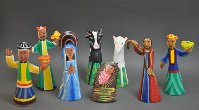 Painted Metal Nativity
